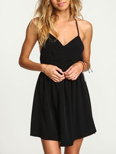 Black Halter Strap Cross Back Skater Dress