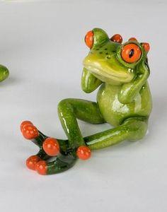 Dekofigur lustiges Froschpärchen 18 cm küssend