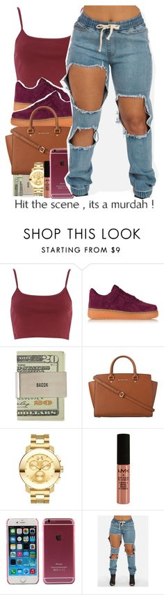 """""""BOOYAA...."""" by alondrauribe ❤ liked on Polyvore featuring River Island, NIKE, MICHAEL Michael Kors, Movado and NYX"""