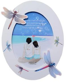 UberLyfe Valentine's Day Special MDF Wood, Oval Shaped White Photo Frame with Charming Dragonflies - 6 By 8