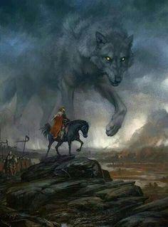 Mythological Creatures, Fantasy Creatures, Mythical Creatures, Wolf Images, Wolf Pictures, Dark Fantasy Art, Fenrir Tattoo, Valhalla, Thor