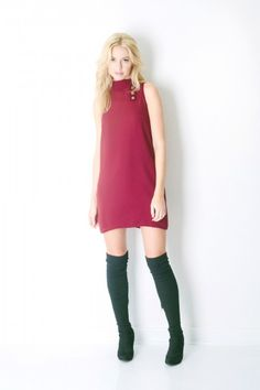 Camilyn Beth Jude Dress in Burgundy with Gold Buttons