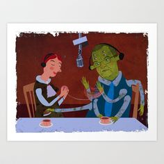 interview with the alien Art Print by Beati - $18.00