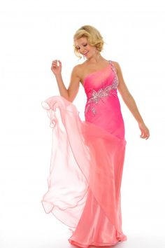 @Precious Formals C51026 Two-tone pink one shoulder #Prom #Dresses #IPAProm #Prom360