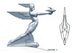 Futuristic car hood ornament, designed by Greg Broadmore at WETA