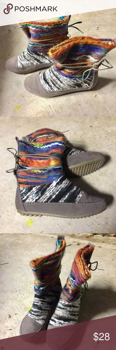 Shoes of Soul Multicolor Boots EUC. Worn once. These are so interesting! You'll want to wear leggings or skinnies tucked into these so everyone can see all of the colors! RRB loves offers but cannot trade at this time. ~{We are ALL beautiful.}~ Shoes of Soul Shoes