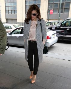 Eva Mendes street style; fun idea for her dusty pink blouse, also a good pop of color in the shoes