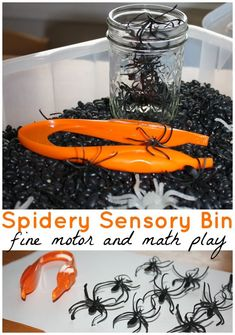 Spider Sensory Bin Fine Motor and Preschool Math Sensory play. Count Spiders, use tweezers, and engage in tactile sensory play with a Halloween theme.