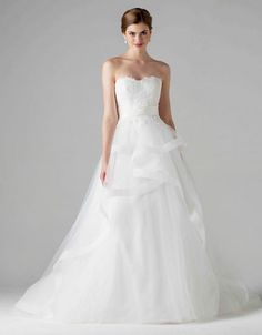 anne barge bridal fall 2015 emma strapless a line wedding dress horsehair tiered skirt lace bodice -- Anne Barge Fall 2015 Wedding Dresses Anne Barge Wedding Dresses, Plus Size Wedding Gowns, 2015 Wedding Dresses, Bridal Dresses, Ceremony Dresses, Wedding Ceremony, Wedding Gown Ballgown, Bridal Gown Styles, Princess Ball Gowns