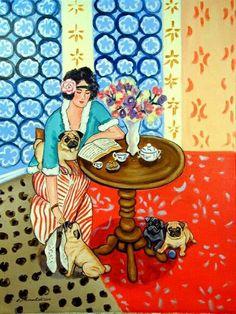 Pug dog Giclee Fine Art Print Dog Art by Lyn Green Robe Pugs, Pug Art, Glass Cutting Board, Flag Decor, Pug Love, House Flags, Garden Flags, Retro, Fine Art Paper