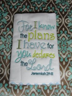 Jeremiah 2911 Embroidered Burp Cloth by BowenHouse on Etsy, $12.00