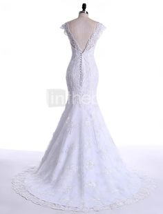 Trumpet / Mermaid Wedding Dress Court Train Scoop Lace / Tulle with Appliques / Lace 2016 - $179.99