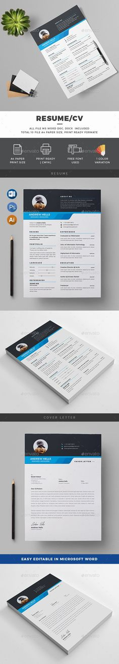 Buy Resume by generousart on GraphicRiver. Features of Resume Template Color Versions Paper Size With Bleeds Quick and easy to customize templates Change Cu. College Resume Template, Simple Resume Template, Resume Design Template, Creative Resume Templates, Cv Template, Design Templates, Resume Action Words, Resume Words Skills, Teaching Resume