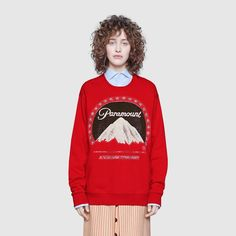 Shop the Oversize sweatshirt with Paramount logo by Gucci. An oversize T-shirt with the Paramount logo print. Paramount Pictures Corporation is an American film studio, founded in 1914, based in Hollywood, California, that has been a subsidiary of the American media conglomerate Viacom since 1994.
