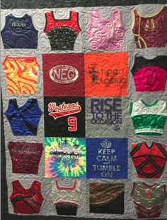 Quilt made from gymnastic outfits and tshirts. Jersey Quilt, Gymnastics Outfits, Quilt Labels, Crochet Quilt, I Love Mom, Quilt Making, Sewing Projects, Sewing Ideas, Quilt Patterns
