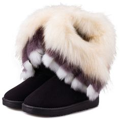 Short Faux Color Fur Winter Snow Boot (165 HKD) ❤ liked on Polyvore featuring shoes, boots, short shoes, fake fur boots, fur boots, man made boots and synthetic boots