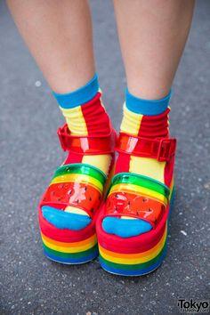 Twin Tailed Harajuku Girl in Colorful Pop Fashion w/ Kinji, Candy Stripper & Rainbow Socks                                                                                                                                                                                 More