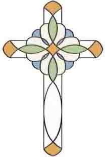 442-0372 Amber Blue Cross Stained Glass Applique - Wallpaper & Border | Wallpaper-inc.com