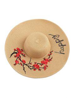 Sombrero de paja con bordado y ala ancha -Spanish SheIn(Sheinside) 25352588f09