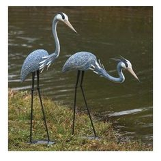 Outdoor Crane Statues Sculptures Standing Pairs Bowing Heron Pond Decoy Garden  #AncientGraffiti