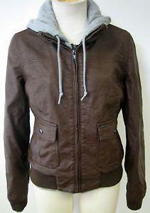 Obey Clothing Jealous Lover Womens Faux Leather Jacket w Fleece Bwn XXS  e19c97b2abe2