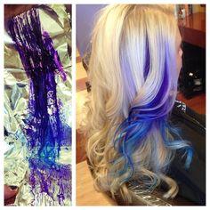 blonde hair with pravana violet and blue streaks
