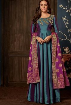 You Will Look Beautiful After Wearing This Vibrant Designer Saree. One Who Wears This Saree Attains A Spotting Personality Through Its Amazing Design And Color Combination. This Saree Is Crafted By Banarasi Skilled Workers Without Compromising On Its Qual Anarkali Gown, Lehenga Choli, Sari, Anarkali Suits, Punjabi Suits, Abaya Fashion, Indian Fashion, Fashion Dresses, Maxi Dresses