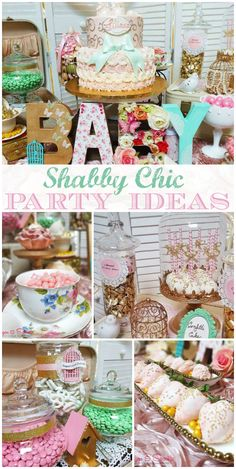 A shabby chic vintage tea party baby shower in a pink, gold, and mint color scheme with a pastel candy buffet! See more party planning ideas at CatchMyParty.com!