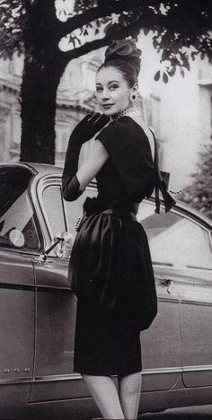 1959, Dior dress by YSL 50s 60s designer couture black dress cocktail black velvet bow model magazine photo print ad women style fashion