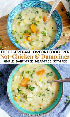 Vegan Not-Chicken and Dumplings is the Ultimate Comfort Food - - Enjoy a cozy night in with this simple vegan not-chicken and dumplings stew, which contains a delicious blend of winter veggies + LITERALLY BREAD straight in your soup bowl. Vegan Dinner Recipes, Veggie Recipes, Whole Food Recipes, Soup Recipes, Healthy Recipes, Low Fat Vegan Recipes, Easy Vegan Dinner, Vegan Desserts, Healthy Food