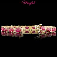 $9800 CERTIFIED 14K YELLOW GOLD 20.00CT RUBY 1.00CT DIAMOND BRACELET #Tennis
