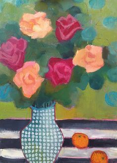 Pink,Peach Roses + Green Spots by Annie OBrien Gonzales