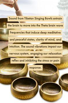 Benefits of using a Tibetan Singing Bowl! Singing Bowl Meditation, Chakra Meditation, Mindfulness Meditation, Meditation Music, Mind Body Spirit, Mind Body Soul, Tibetan Bowls, Sound Bath, Spiritual Wellness