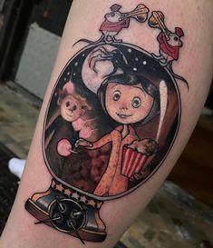 Dream Tattoos, Love Tattoos, Beautiful Tattoos, Body Art Tattoos, Tatoos, Coraline Tattoo, Coraline Art, Tatuagem Pin Up, Spooky Tattoos