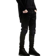 Krralinlin Mens Slim Fit Black Ripped Skinny Destroyed Denim Jeans (250 NOK) ❤ liked on Polyvore featuring men's fashion, men's clothing, men's jeans, pants, mens ripped skinny jeans, mens ripped jeans, mens super skinny jeans, mens slim fit jeans and mens distressed skinny jeans