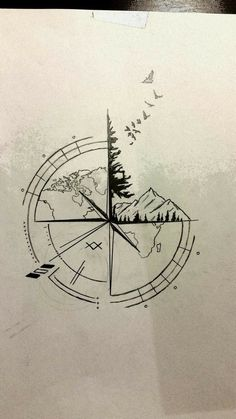 Best Travel Drawing Compass Tattoo Designs Ideas Tattoos And Body Art tattoo design ideas Forearm Tattoos, Body Art Tattoos, Tattoo Drawings, New Tattoos, Sleeve Tattoos, Cool Tattoos, Tattoo Thigh, Tattoo Sketches, Awesome Tattoos
