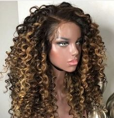 Curly Wigs Lace Wigs Frontal With Curly Hair Curly Wigs, Long Curly Hair, Human Hair Wigs, Curly Hair Styles, Natural Hair Styles, Curly Lace Front Wigs, Front Lace, Curly Bob Hairstyles, Easy Hairstyles