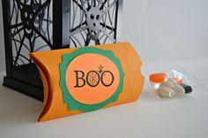 Halloween Treat Boxes  Orange Favor Boxes  Boo by PaperWondersShop