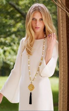 Extra long necklaces, Loving this trend.  Sautoir  An extremely long neck chain, which falls below the waistline and terminates with a tassel or pendant. Popular in the early 20th century ...