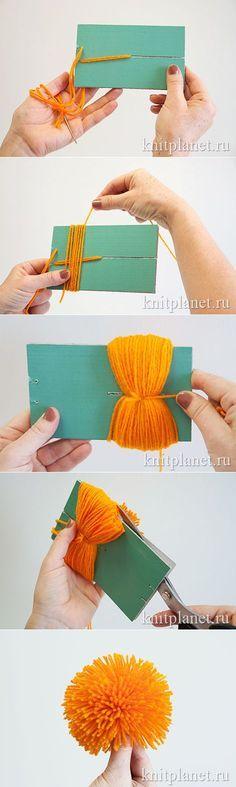 Планета Вязания   Как сделать красивый помпон.