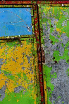 """Extra Crispy"" ~ Motul, Mexico   Abstract paint peeling off rusted metal on the street in Motul, Mexico.   © 2015 Skip Hunt   kaleidoscopeofcolor.com + skiphuntphoto.com + skiphuntphotography.com"
