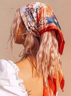 Hair Scarf Styles, Curly Hair Styles, Hair With Scarf, Silk Hair Scarf, Headband Scarf, Bandana Styles, Hippie Hair Styles, Scarf On Head, Long Hippie Hair