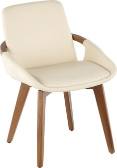 Mid-Century inspired, the Daylilly chair combines style and comfort! The look of leather seat is accented by stylish walnut wood armrest and legs. Customer assembly is required. Mid Century Dining Chairs, Dining Arm Chair, Dining Room, Black Armchair, White Bar Stools, Contemporary Armchair, Chairs For Sale, Modern Chairs, Mid-century Modern