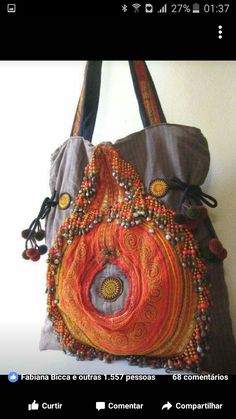 handmade bag with applique and beading