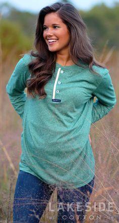 Lauren James Boyfriend Tee in Heather Hunter Green   Lakeside Cotton