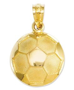 The perfect gift for the aspiring Lionel Messi or Abby Wambach. Crafted from polished and textured 14k gold, this soccer ball is an instant win. Chain not included. Approximate length: 3/4 inch. Appro
