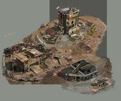 Post Apocalyptic Castle on sci fi rpg maps . Apocalypse World, Apocalypse Art, Bg Design, Game Design, Environment Concept Art, Environment Design, Fallout 4 Settlement Ideas, Post Apocalyptic City, Fallout Rpg
