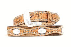 Men's Belt | Nocona Scalloped Brown Leather & Cow Hide with Blue Stones Men's Belts, Leather Belts, Cowhide Leather, Brown Leather, Blue Stones, Cow Hide, Accessories, Fashion, Moda