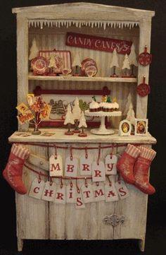 Distressed hutch with red & white vintage Toni Kami  Joyeux Noël  Shabby chic Christmas décor