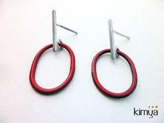 Impressions in red nº3 - silver studded earrings with enamel